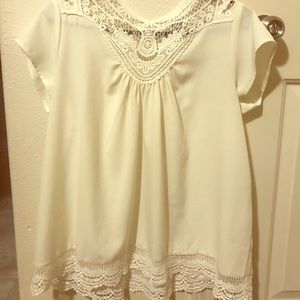 Tops - Ivory eyelet top
